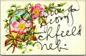 1910s Greetings from LITCHFIELD Nebraska Embossed Postcard Flowers Glitter