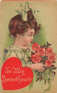 F99/ Valentine's Day Love Holiday Postcard c1910 Pretty Girl Roses 5