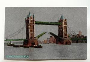 Silver, Tower Bridge Open, London, England, Christmas Greetings Printed on th...