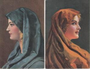 Anita & Marga by Wilhelm Hunger Stengel vintage art postcards x 2