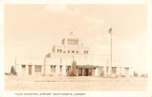 Tulsa Oklahoma~Art Deco Municipal Airport~Real Photo Postcard~RPPC 1928 Postcard