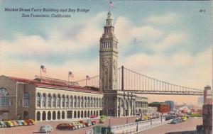 California San Francisco Market Street Ferry Building and Bay Bridge 1950