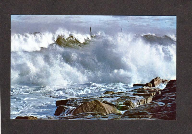 MA Surf Rockport Eden Rd Thatcher's Lights Massachusetts Mass Postcard