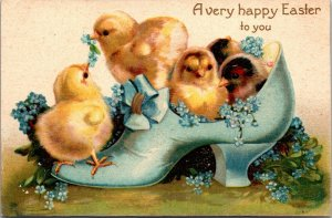 RARE- A Very Happy EASTER CHICKS IN SHOES - VINTAGE POSTCARD