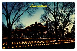 Christmas Luminarios Paper Bag Candle Decorations Vintage Postcard