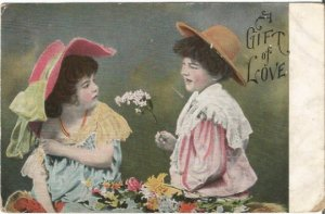 Little boy giving flowers to a little girl Gift of Love Vintage Postcard 1908