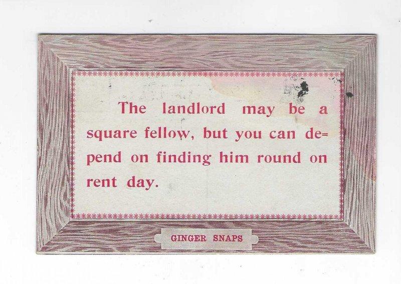 Vtg 1909 Comical Funny Landlord Ginger Snaps Postcard