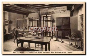Old Postcard Lourdes Chateau Fort Musee Pyreneen Hall Spinning and Weaving