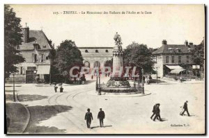 Old Postcard Troyes The Monument Of Children From & # 39Aube And Train