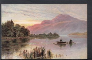 Scotland Postcard - Artist View of Ben Lomond & Rowing Boats HM27