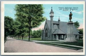 DEPOSIT NY CHRIST'S CHURCH & SOLDIER'S MONUMENT ANTIQUE POSTCARD