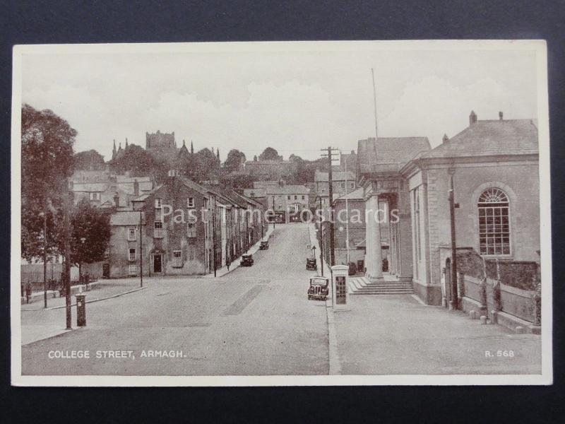 N Ireland ARMAGH College Street Animated Scene c1936 Postcard by Valentine
