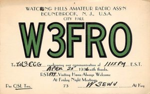 W3FRO Boundbrook, NJ, USA QSL Non Postcard Backing