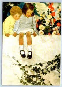 LITTLE GIRL & BOY in Garden Flowers by Smith New Unposted Postcard