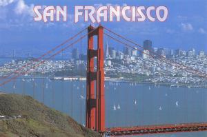 Postcard San Francisco City and Golden Gate Bridge California, USA K4