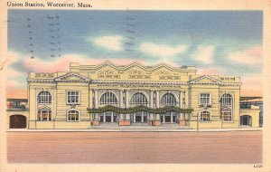 Union Station, Worcester, Massachusetts, Early Postcard, Used in 1952