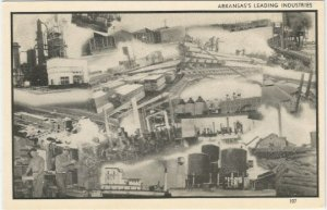 Arkansas's Leading Industries Logging, Farming, Vintage Postcard Black and White