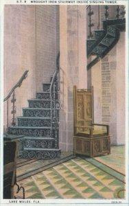LAKE WALES, Florida, 1910s; Wrought Iron Stairway Inside Singing Tower