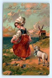 Postcard Easter Wishes Girl Leading Lamb 1907  I5