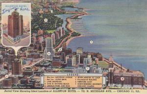 Illinois Chicago Aerial View Showing Ideal Location Of Allerton Hotel 1949
