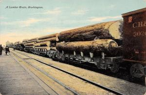 Tacoma Washington Pub~Lumber Train~Logs Fill Flatbeds~Lady on Platform~1910 PC