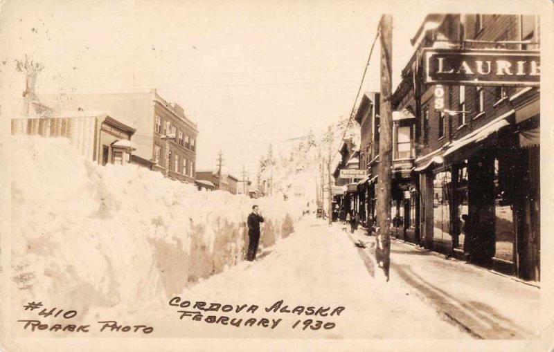 Cordova Alaska Street Scene Winter Scene Real Photo Postcard AA392
