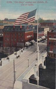 American Flag, Old Glory waving over Aurora, Illinois, PU-1913