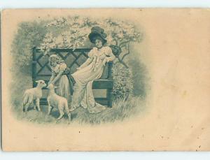 Pre-Linen art nouveau MOM WATCHES GIRL FEEDING BABY LAMBS HL4365