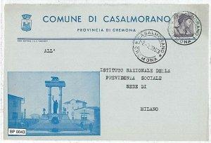 bp043  CARTOLINA d'Epoca BUSTA COMUNALE - CREMONA: CASALMORANO