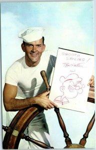 1960s Chrome Advertising Postcard TOM HATTEN Popeye Cartoon Show KTLA-TV 5 L.A.