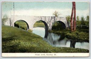 Eureka Illinois~Stone Arch Bridge Reflects in Creek~Tangled Trees~1912 Postcard