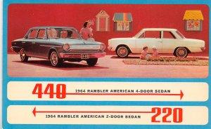 1964 440 Rambler American 4 & 2 Door Sedan Car advertising postcard