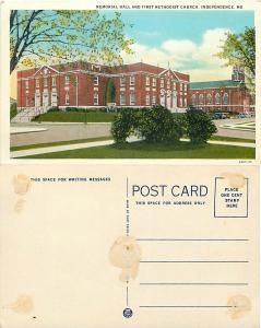 Memorial Hall & First Methodist Church, Independence, Missouri, MO, White Border