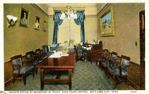 UT - Salt Lake City. Utah State Capitol, Private Office of Secretary of State...