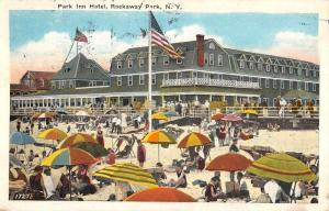 Rockaway Park New York Inn Hotel Beach Scene Antique Postcard K63941