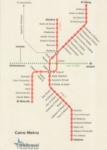 Cairo Metro Underground Greece Train Map Postcard