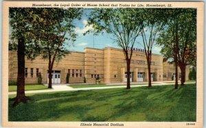 Mooseheart, Illinois Postcard ILLINOIS MEMORIAL STADIUM Entrance View Linen 1943