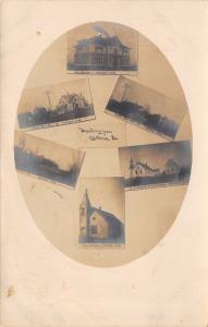 Castana IA 4th & Linden Sts~Schoolhouse~ME & Congregational Churches~RPPC 1909