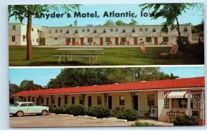 Snyder's Motel Atlantic Iowa Postcard D72