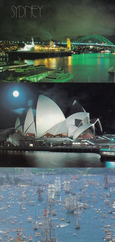 First Fleet QE II Sydney Harbour Moon Opera House 4x Australia Ship Postcard s
