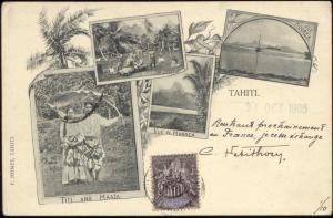 Tahiti, Titi and Maata, Moorea, Haapiti Natives, Multiview (1905) Stamp