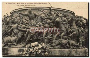 Troyes Old Postcard Bas Relief child monument of & # 39aube (by sculptor Brid...
