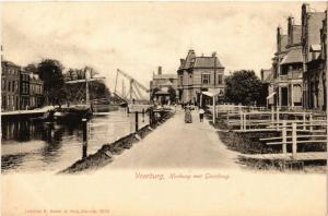 CPA VOORBURG Hoekweg met Geestbrug NETHERLANDS (602175)