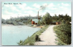 Moberly MO~Sandy Path to Water Works~Smokestack~Rowboat~Miss Rose Gentry~1919