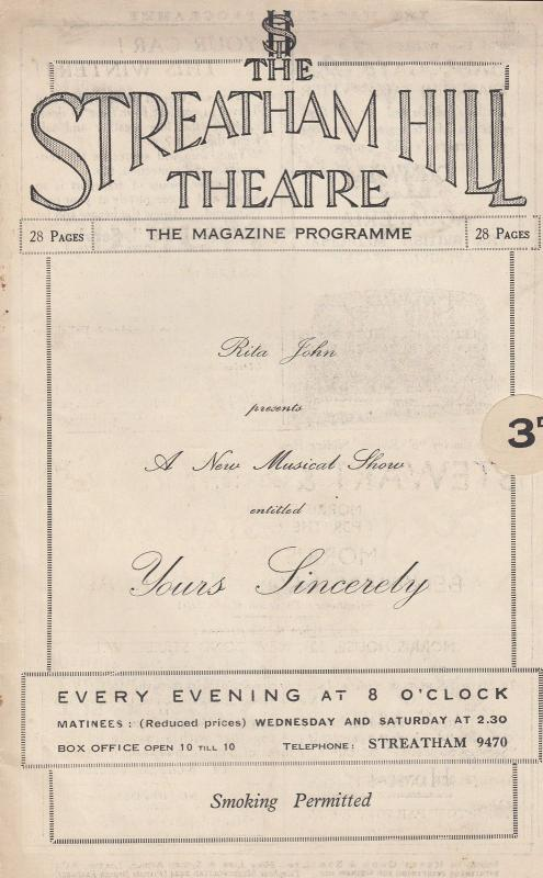 Yours Sincerely Rita John Billy Caryll Musical Streatham Theatre Programme