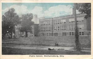 Mechanicsburg Ohio~Public School~Students in Front of Entrance~1927 Blue Sky Pc