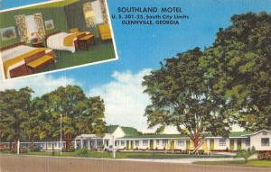 Glennville Georgia Southland Motel Multiview Linen Antique Postcard K14788