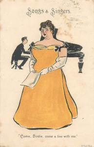 Songs & singers  Come, Birdie come & live with me  piano music caricature 1903
