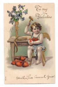 Valentine Cupid with Hammer Hearts Embossed Gilded 1908