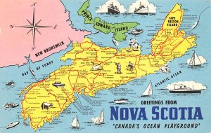 Maps Nova Scotia Canada 1969 Missing Stamp